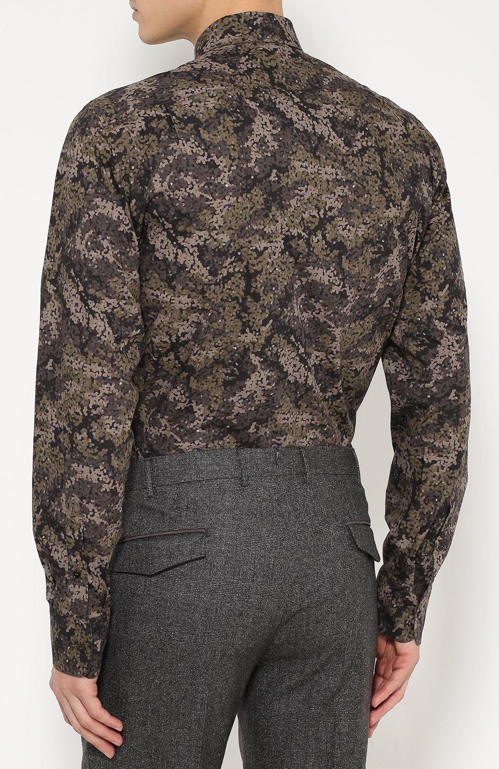 Хлопковая рубашка с камуфляжным принтом Dolce & Gabbana хаки | Фото №4