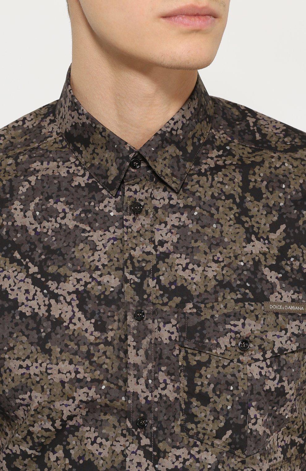 Хлопковая рубашка с камуфляжным принтом Dolce & Gabbana хаки | Фото №5