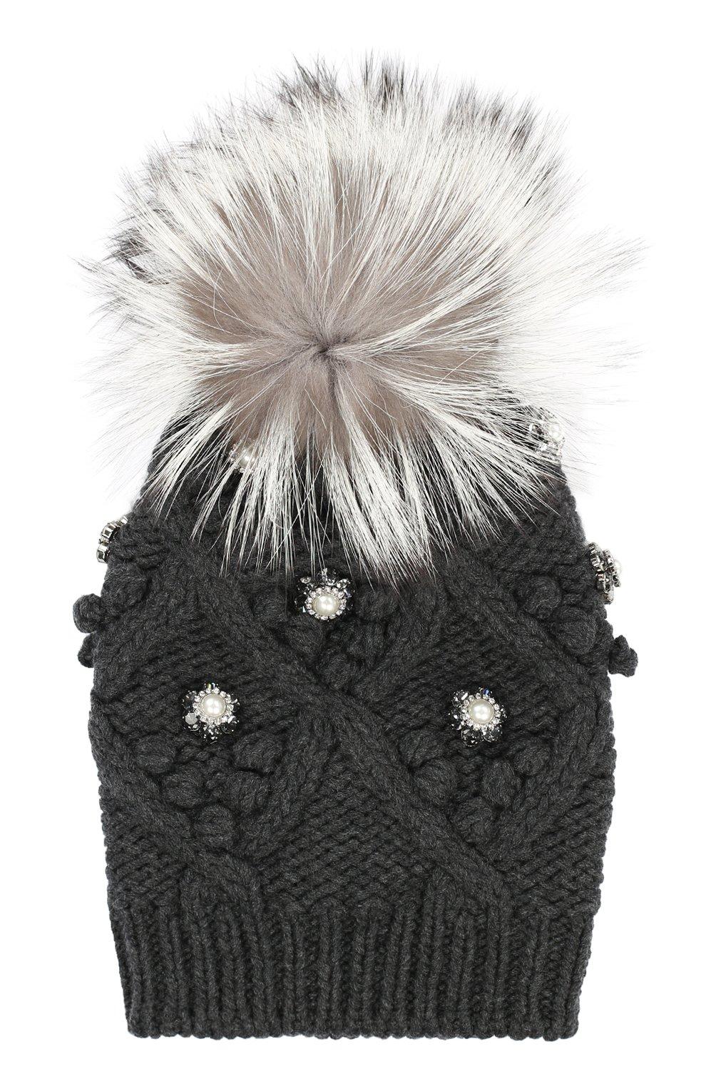 Кашемировая шапка с меховым помпоном и стразами | Фото №1