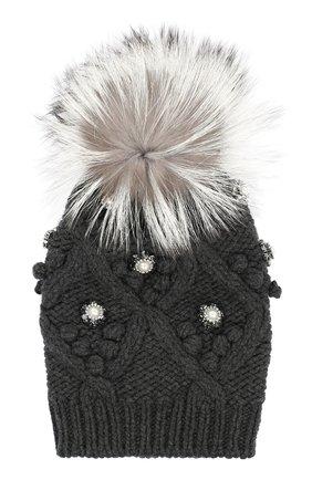 Кашемировая шапка с меховым помпоном и стразами Dolce & Gabbana серого цвета | Фото №1