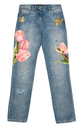 Детские джинсы из хлопка с аппликациями Dolce & Gabbana синего цвета   Фото №1