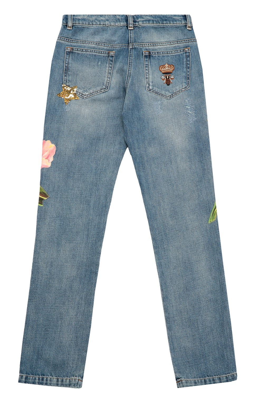 Детские джинсы из хлопка с аппликациями Dolce & Gabbana синего цвета   Фото №2