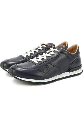 Кожаные кроссовки на шнуровке Tod's темно-синие | Фото №1