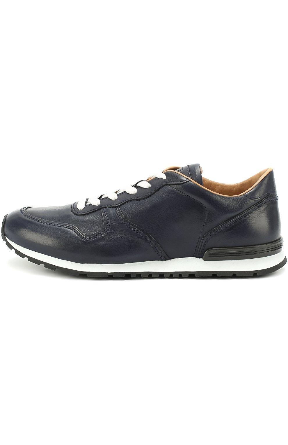 Кожаные кроссовки на шнуровке Tod's темно-синие | Фото №3