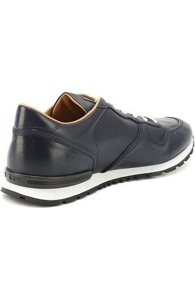 Кожаные кроссовки на шнуровке Tod's темно-синие | Фото №4