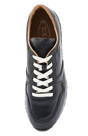 Кожаные кроссовки на шнуровке Tod's темно-синие | Фото №5