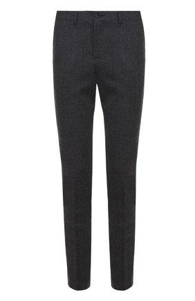 Шерстяные брюки прямого кроя Dolce & Gabbana серые | Фото №1