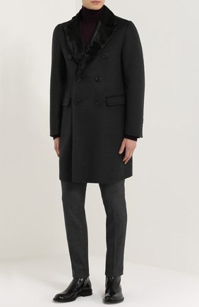 Шерстяные брюки прямого кроя Dolce & Gabbana серые | Фото №2