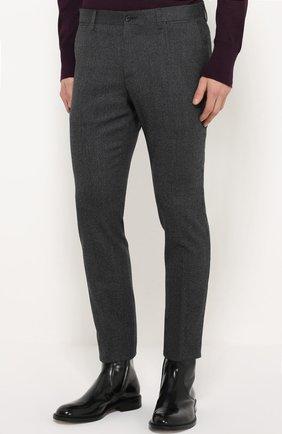 Шерстяные брюки прямого кроя Dolce & Gabbana серые | Фото №3