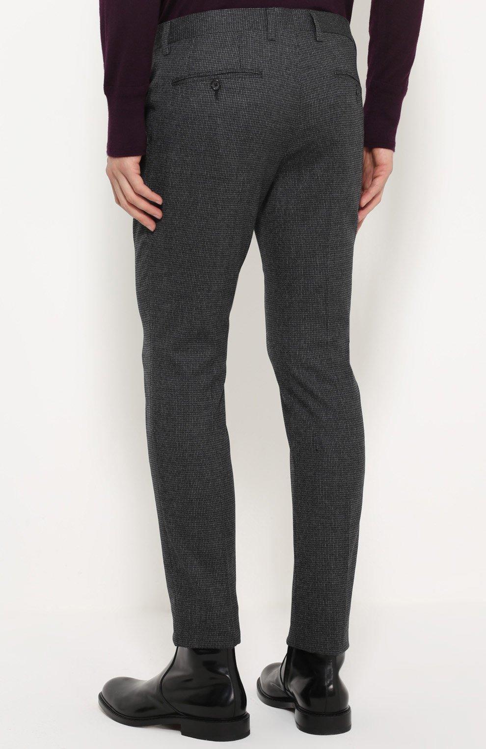Шерстяные брюки прямого кроя Dolce & Gabbana серые | Фото №4