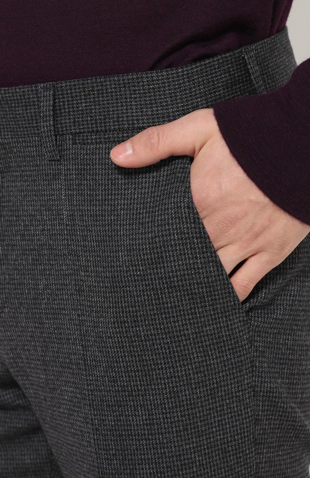Шерстяные брюки прямого кроя Dolce & Gabbana серые | Фото №5