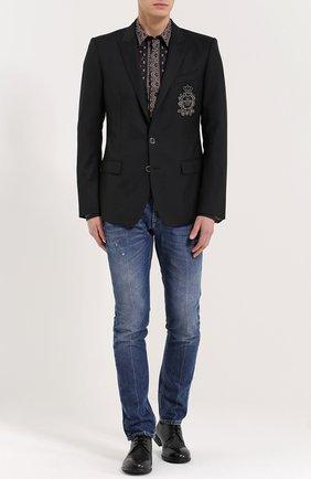 Зауженные джинсы с потертостями | Фото №2