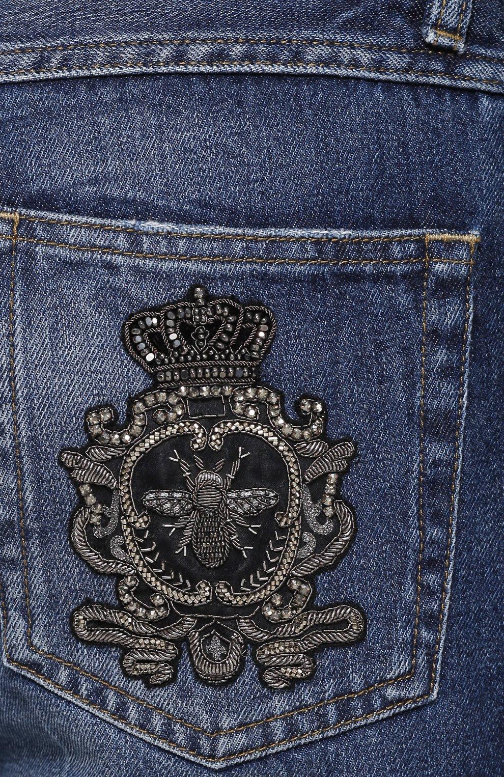 Зауженные джинсы с потертостями | Фото №5
