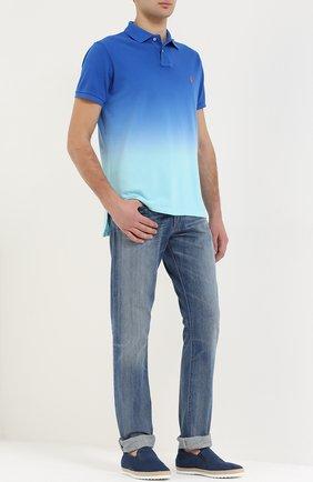 Кожаные слипоны с отделкой из рафии Tod's синие | Фото №2