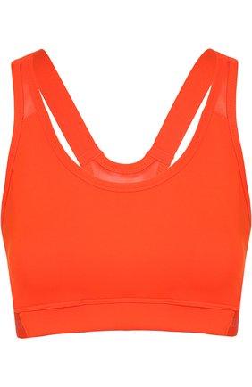 Укороченный спортивный топ adidas by Stella McCartney красного цвета | Фото №1