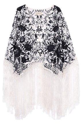 Кружевная накидка с цветочным принтом и бахромой | Фото №1