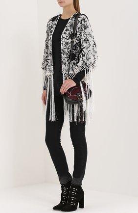Кружевная накидка с цветочным принтом и бахромой Denim&Supply by Ralph Lauren белая   Фото №1