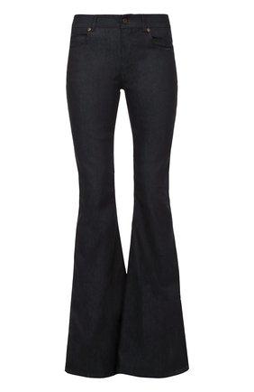 Расклешенные джинсы с кожаной отделкой   Фото №1