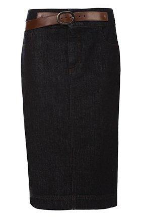 Джинсовая юбка-карандаш с кожаной отделкой   Фото №1