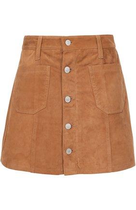 Замшевая мини-юбка с накладными карманами Denim&Supply by Ralph Lauren песочная   Фото №1