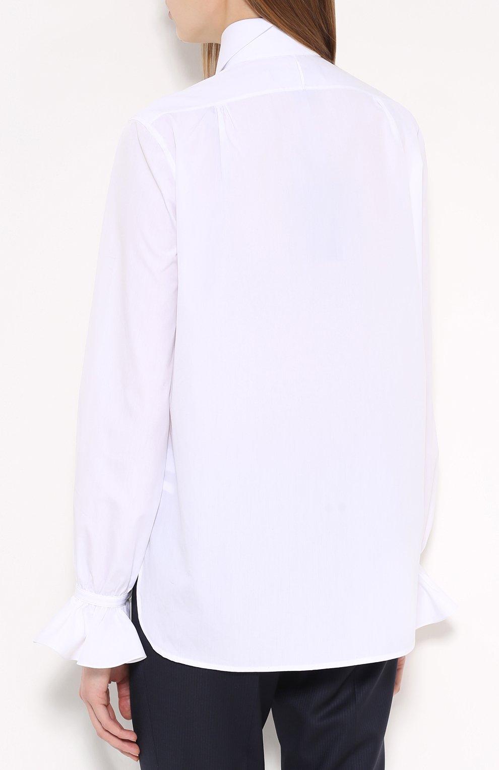 d588baee9cd Женская белая блуза прямого кроя с воротником-жабо RALPH LAUREN ...