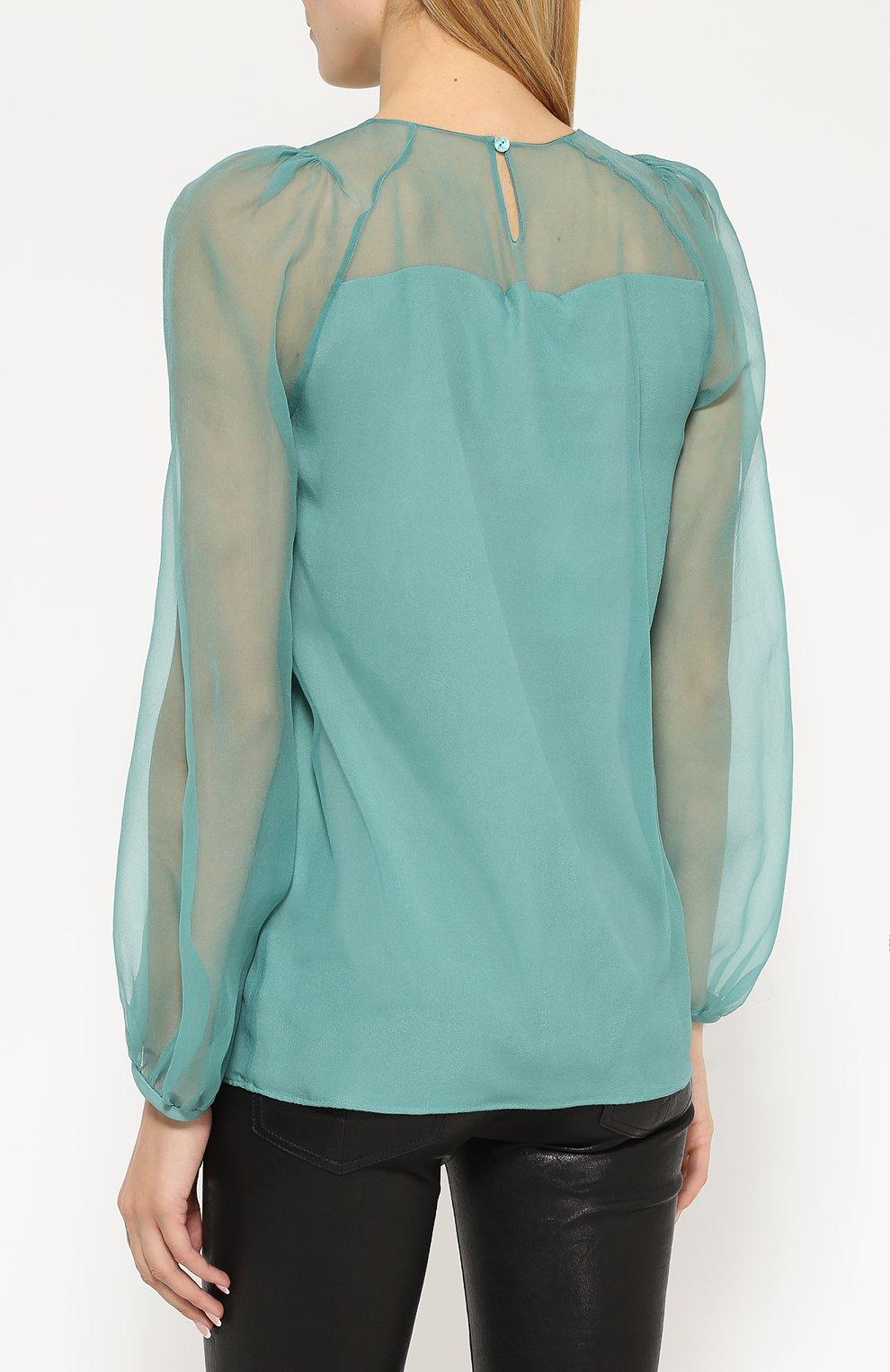 d8dedc3b13c Женская зеленая шелковая блуза с круглым вырезом и защипами ...