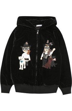 Детский бархатная толстовка на молнии с капюшоном и нашивками Dolce & Gabbana черного цвета | Фото №1