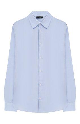 Детская хлопковая рубашка с воротником кент DAL LAGO голубого цвета, арт. N402/7317/7-12 | Фото 1