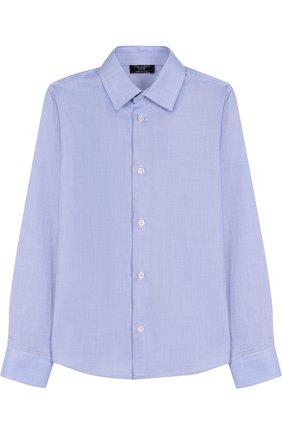 Детская хлопковая рубашка с воротником кент Dal Lago синего цвета | Фото №1