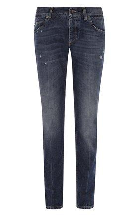 Зауженные джинсы с потертостями Dolce & Gabbana голубые | Фото №1