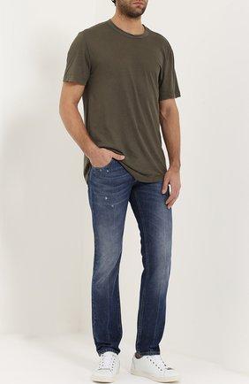 Зауженные джинсы с потертостями Dolce & Gabbana голубые | Фото №2