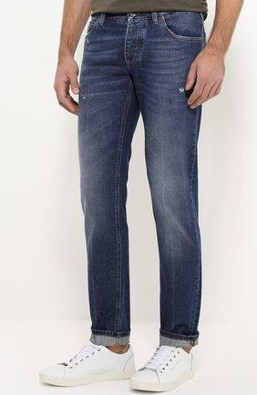 Зауженные джинсы с потертостями Dolce & Gabbana голубые | Фото №3
