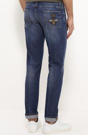 Зауженные джинсы с потертостями Dolce & Gabbana голубые | Фото №4
