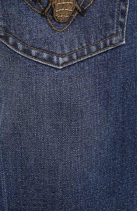 Зауженные джинсы с потертостями Dolce & Gabbana голубые | Фото №5