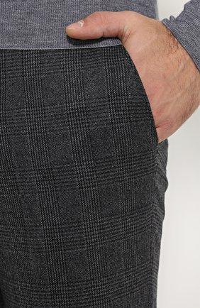 Шерстяные брюки прямого кроя в клетку | Фото №5