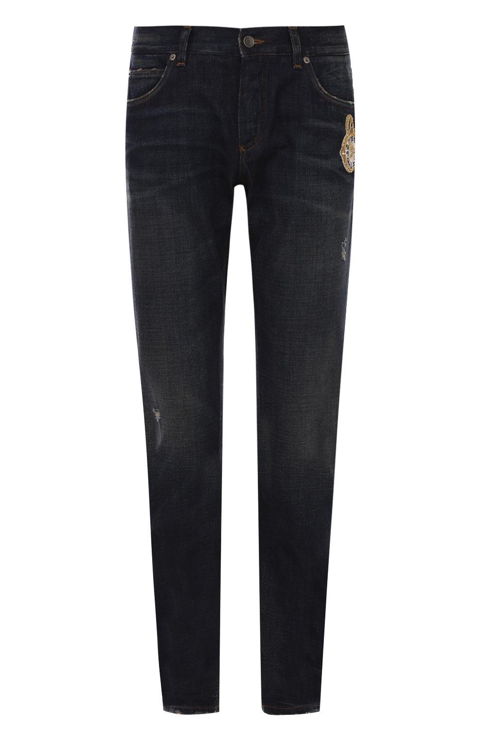 Зауженные джинсы с потертостями и вышивкой | Фото №1