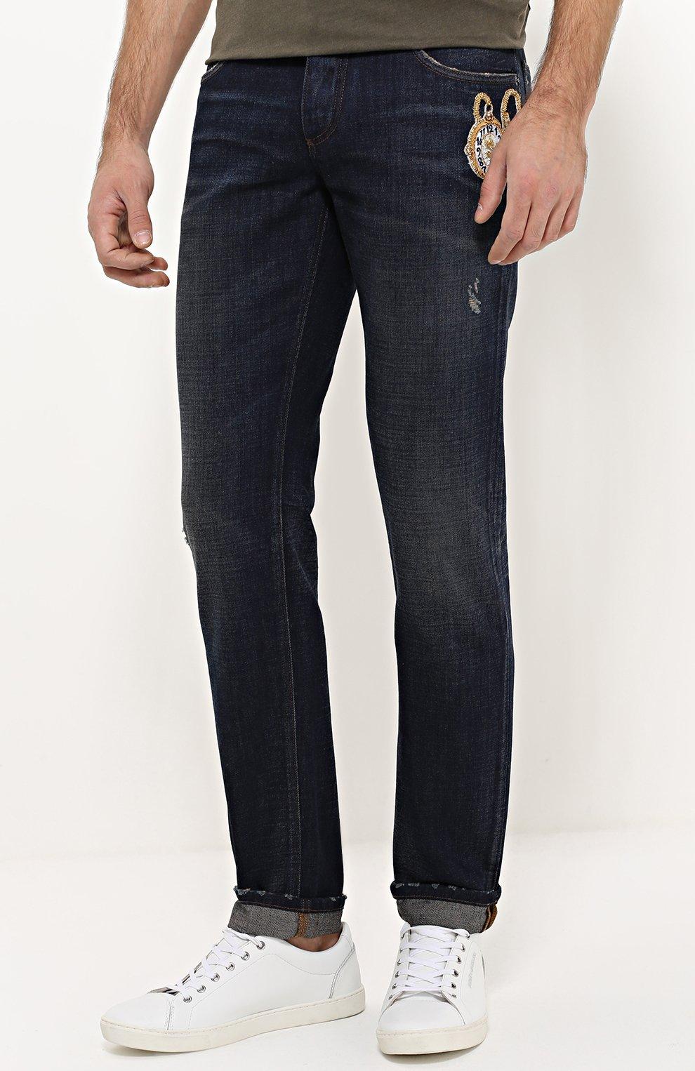 Зауженные джинсы с потертостями и вышивкой Dolce & Gabbana синие | Фото №3
