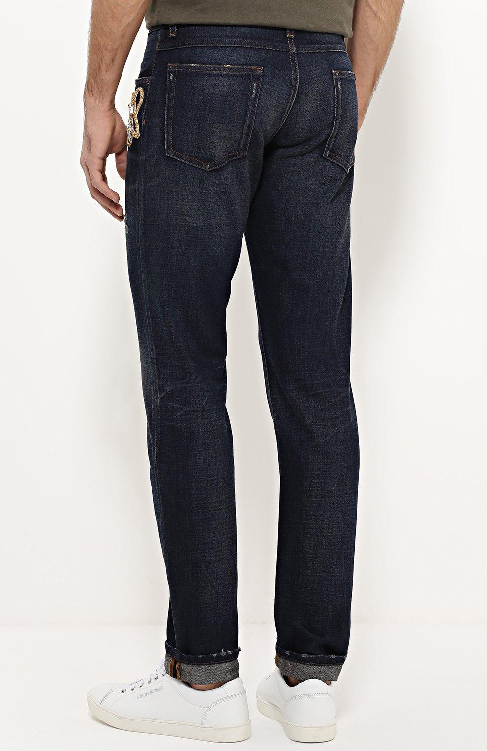 Зауженные джинсы с потертостями и вышивкой Dolce & Gabbana синие | Фото №4