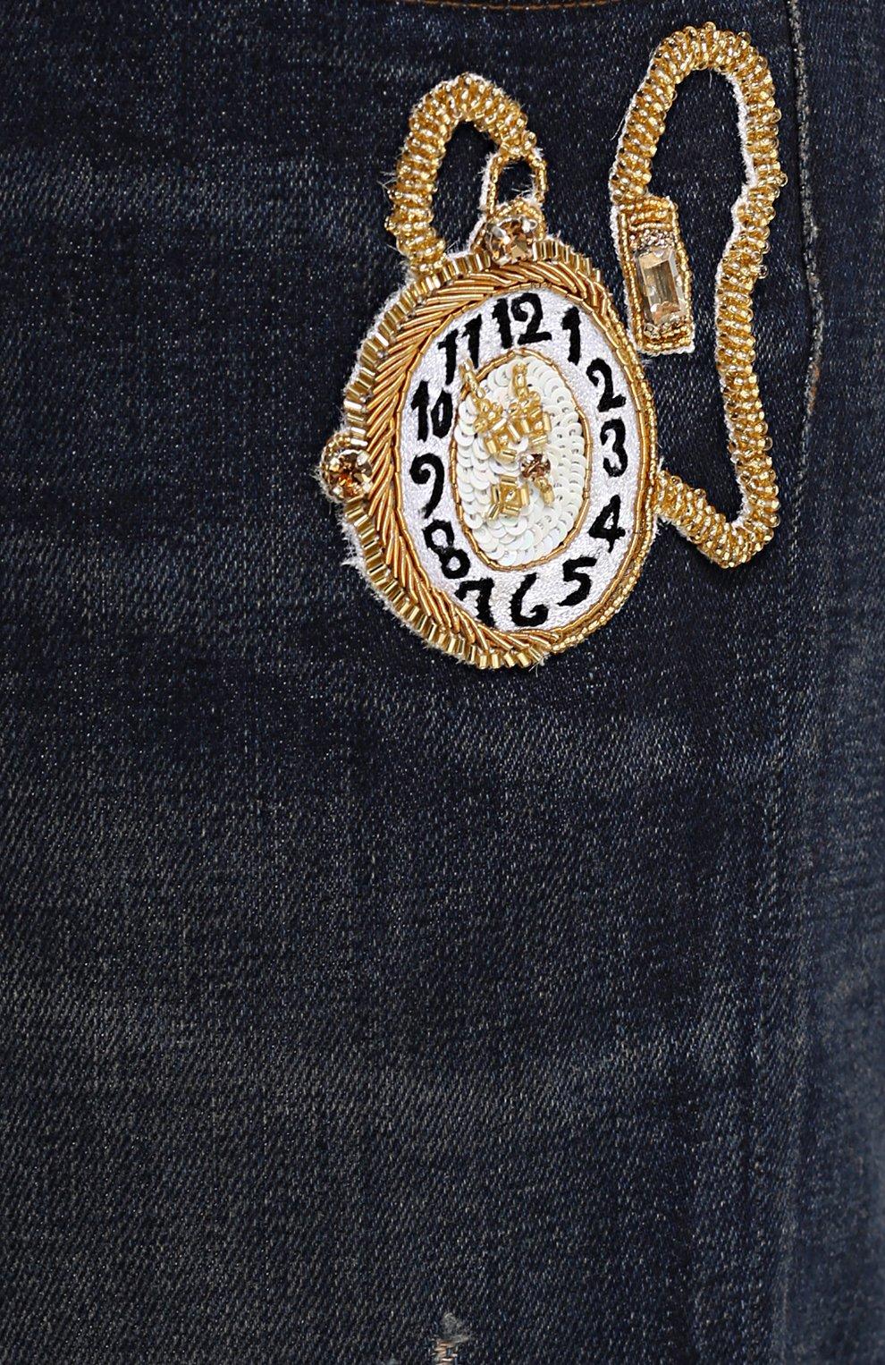 Зауженные джинсы с потертостями и вышивкой Dolce & Gabbana синие | Фото №5