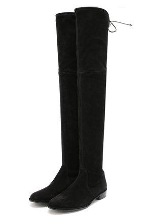 Замшевые ботфорты Lowland Stuart Weitzman черные | Фото №1