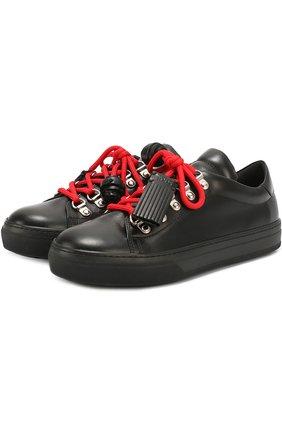 Кожаные кеды с декорированной шнуровкой Tod's черные | Фото №1