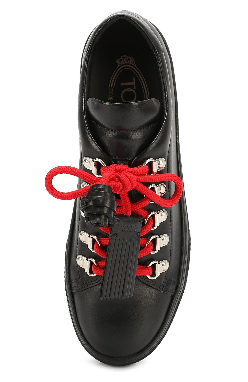 Кожаные кеды с декорированной шнуровкой Tod's черные | Фото №4