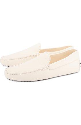 Мужские кожаные мокасины gommini TOD'S белого цвета, арт. XXM0GW0S570NLK | Фото 1