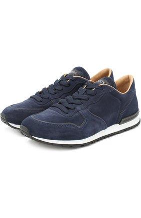 Замшевые кроссовки на шнуровке Tod's темно-синие | Фото №1