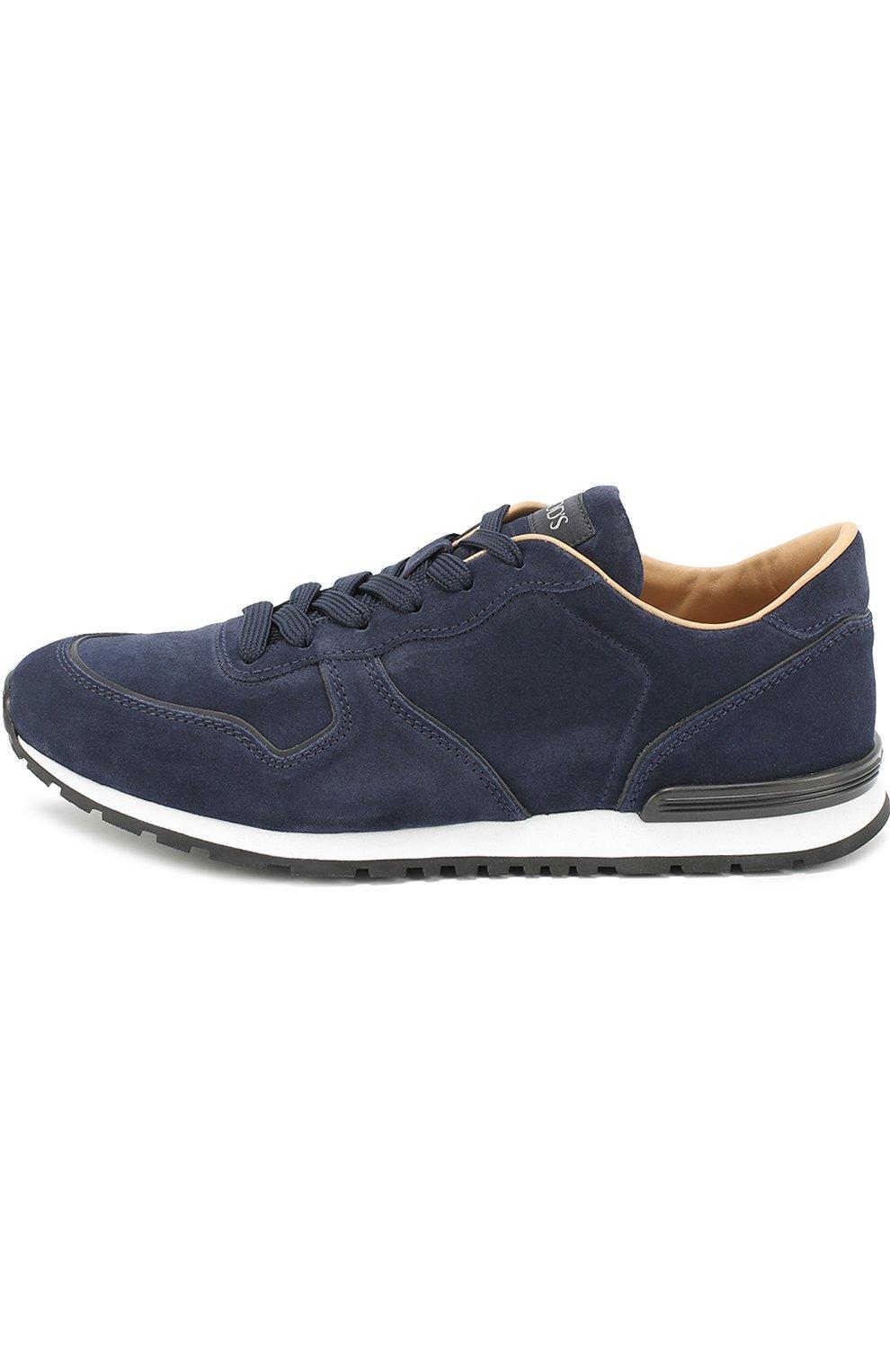 Замшевые кроссовки на шнуровке Tod's темно-синие | Фото №3