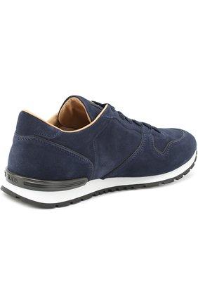 Замшевые кроссовки на шнуровке Tod's темно-синие | Фото №4