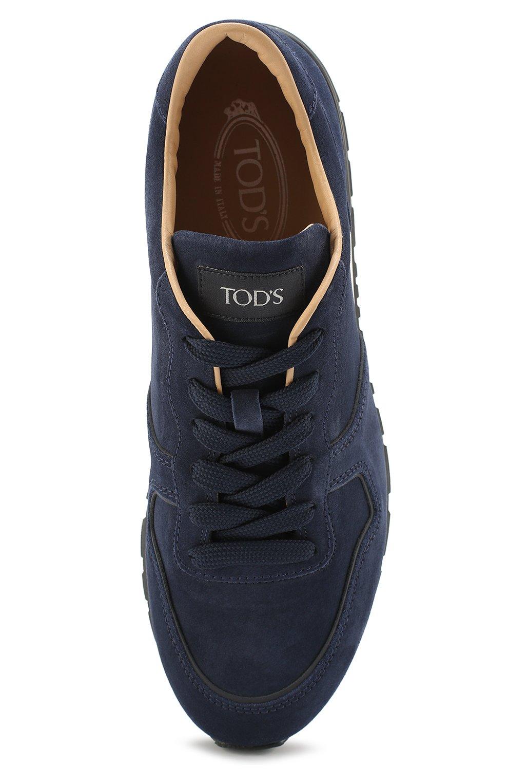Замшевые кроссовки на шнуровке Tod's темно-синие | Фото №5