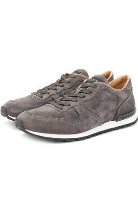 Замшевые кроссовки на шнуровке Tod's серые | Фото №1