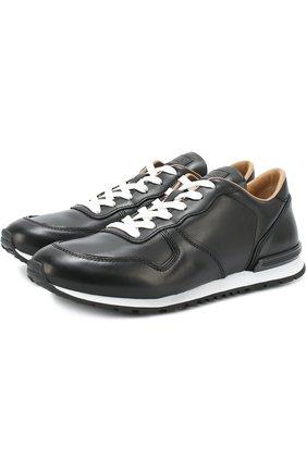 Кожаные кроссовки на шнуровке Tod's черные | Фото №1