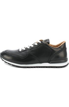 Кожаные кроссовки на шнуровке Tod's черные | Фото №3